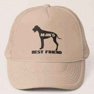 SpaßhundeSilhouette des besten Freunds des Mannes Truckerkappe