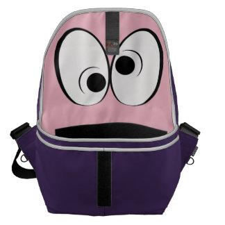 Spaßinnenraum, Augen, lila und rosa Kurier Tasche