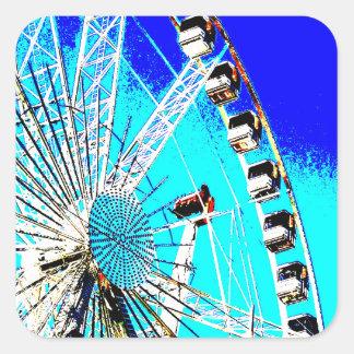 Spaßmesse im Amsterdam-Riesenrad und im hohen Turm Quadratischer Aufkleber
