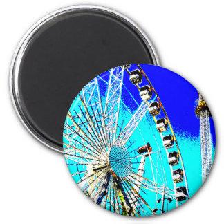 Spaßmesse im Amsterdam-Riesenrad und im hohen Turm Runder Magnet 5,7 Cm