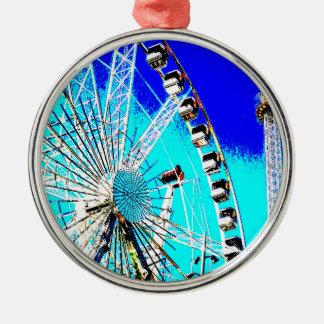 Spaßmesse im Amsterdam-Riesenrad und im hohen Turm Silbernes Ornament