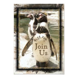 Spaßpenguin-Foto-Zoo-Hochzeits-Einladungen 12,7 X 17,8 Cm Einladungskarte