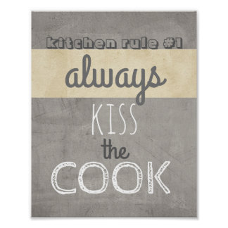 Spaßplakatküchenzitat-Spaßkuß der Koch Poster