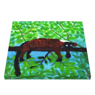Spaßrote Lemur-Kunst Leinwanddruck