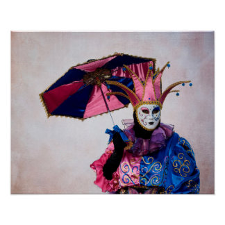 Spaßvogel-Karnevals-Kostüm, Venedig Poster
