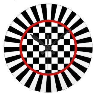 Spaßvogel-Karo-Uhr Große Wanduhr