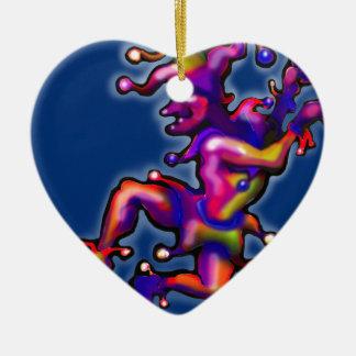 Spaßvogel-Saphir-Blau Keramik Herz-Ornament