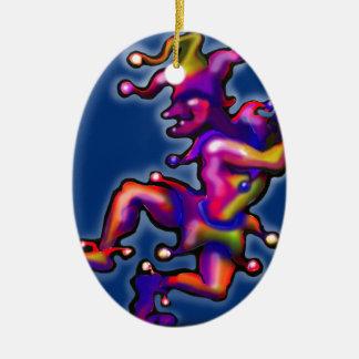 Spaßvogel-Saphir-Blau Ovales Keramik Ornament