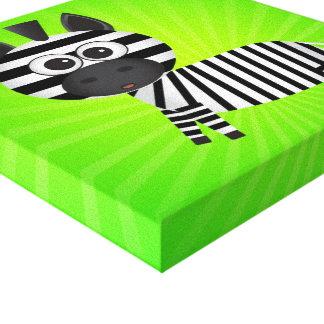 Spaßzebra-Grün-Leinwand Gespannter Galeriedruck