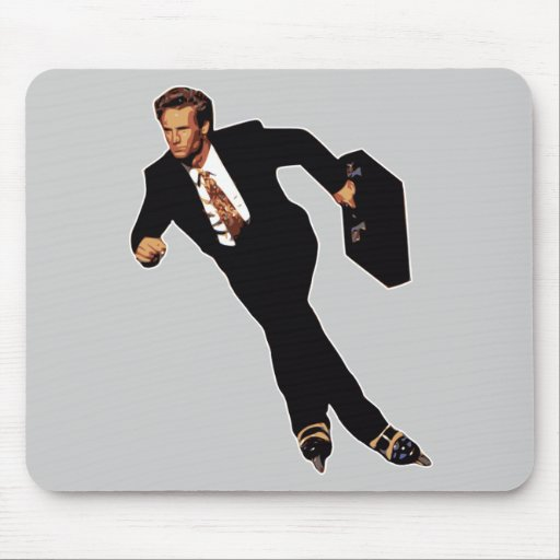 Spät für Geschäftrollerblade-Skater Meme Mousepads