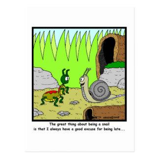 Spät: Schnecke-Cartoon Postkarte