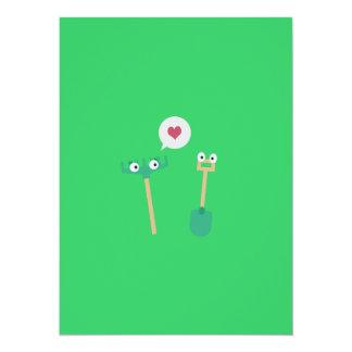 Spaten und Rührstange in der Liebe 14 X 19,5 Cm Einladungskarte