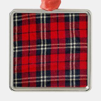 späteste Art des roten der Gewebe-Karos Trends des Silbernes Ornament
