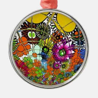 Spätester bunter fantastischer Blumenmusterentwurf Silbernes Ornament