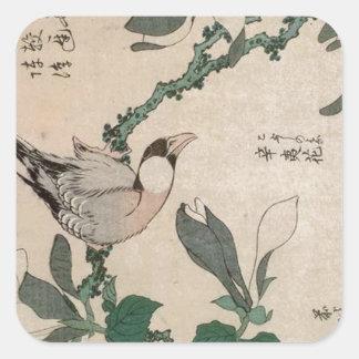 Spatz und Magnolie durch Katsushika Hokusai Quadratischer Aufkleber