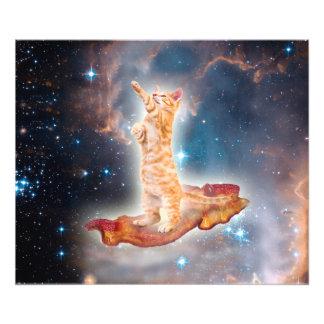 Speck-surfende Katze im Universum Kunstphoto