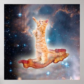 Speck-surfende Katze im Universum Poster