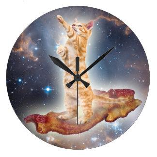 Speck-surfende Katzen-Uhr Große Wanduhr