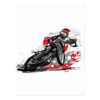 Speedway-flacher Bahn-Motorrad-Rennläufer Postkarte