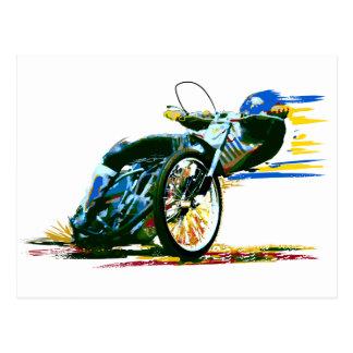 Speedway-Motorrad-Rennläufer-Malerei-Postkarte Postkarte