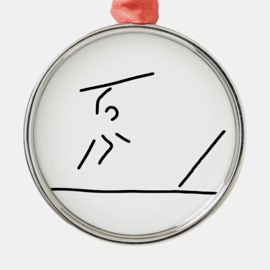 speerwerfer weitwurf speerwerfen rundes silberfarbenes ornament