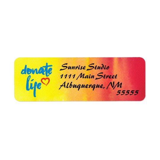 Spenden Sie das Leben mit rotem und gelbem Kleiner Adressaufkleber