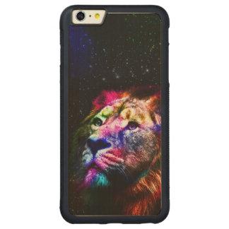 Sperren Sie Löwe _caseSpace Löwe - bunten Löwe - Carved® Maple iPhone 6 Plus Bumper Hülle
