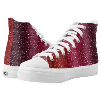 Spezielle rote kundenspezifische Zipz hohe Hoch-geschnittene Sneaker