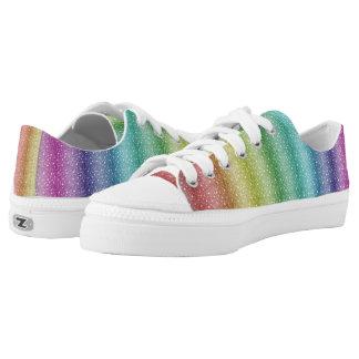 Spezieller Regenbogen kundenspezifische Zipz Niedrig-geschnittene Sneaker