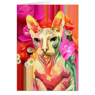 Sphynx Katze in den Blumen Karte