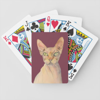 Sphynx Katzen-Aquarell-Porträt Bicycle Spielkarten