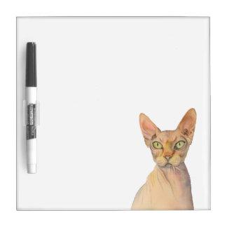 Sphynx Katzen-Aquarell-Porträt Trockenlöschtafel