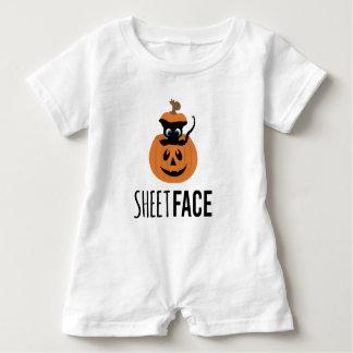 Sphynx Katzen-lustige Halloween-Kürbise Baby Strampler