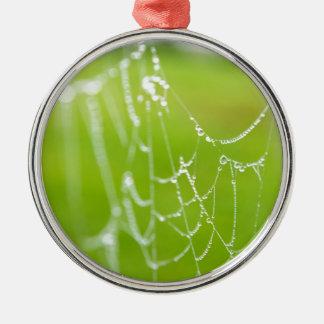Spiderweb mit Tropfen Silbernes Ornament