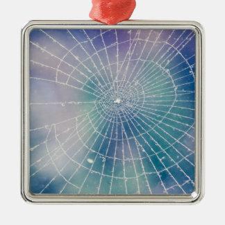 Spiderweb Quadratisches Silberfarbenes Ornament