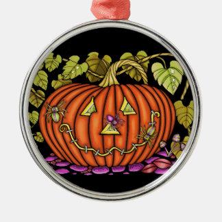 Spidery Jack O'Lantern Silbernes Ornament