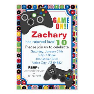 Spiel an! Videospiel-Thema Geburtstags-Party Karte