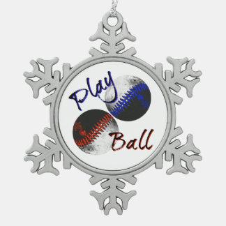 Spiel-Ball Schneeflocken Zinn-Ornament