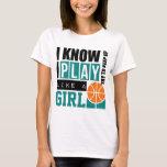 Spiel-Basketball mögen ein Mädchen T-Shirt