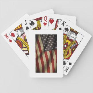 Spiel des Pokers mit der amerikanischen Flagge Spielkarten
