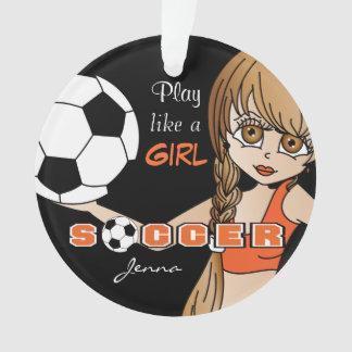 Spiel mögen einen Fußball | des Mädchen-| orange Ornament