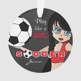 Spiel mögen einen Fußball | des Mädchen-| rot und Ornament
