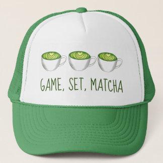 Spiel-Set-Match Matcha grüner Tee Latte Truckerkappe