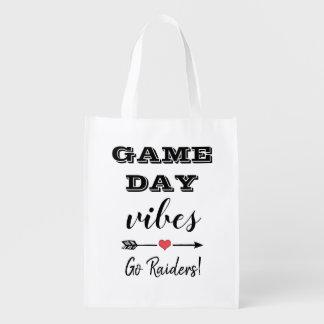 Spiel-Tagesvibes-Team-Herz-personalisierter Text Wiederverwendbare Einkaufstasche