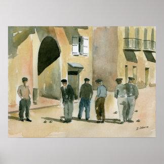 Spiel von Pétanque Poster