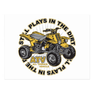 Spiele im Schmutz ATV Postkarte