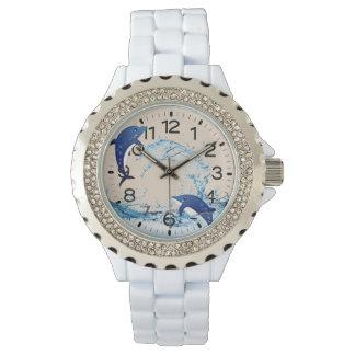 Spielen der Delphine Rhinestoneuhr Armbanduhr