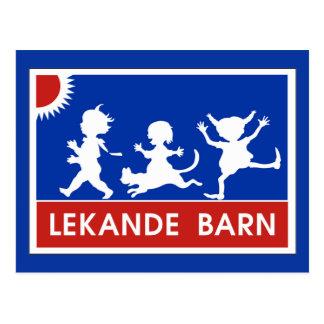 Spielen der Kinder, Verkehrszeichen, Schweden Postkarten
