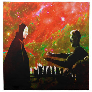 Spielen des Schachs mit Tod Stoffserviette