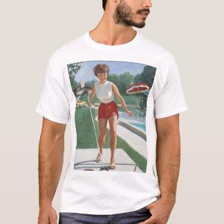 Spielen des Shuffleboard-Buttons herauf Kunst T-Shirt